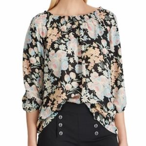 NWT Chaps Floral Georgette Blouse Large